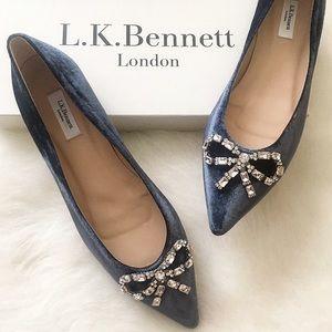 LK Bennett Elin Powder Blue Velvet Flats